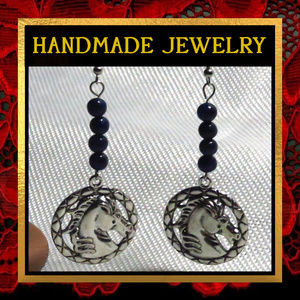 Horse & Blue Lapis Lazuli Stone Earrings    #174